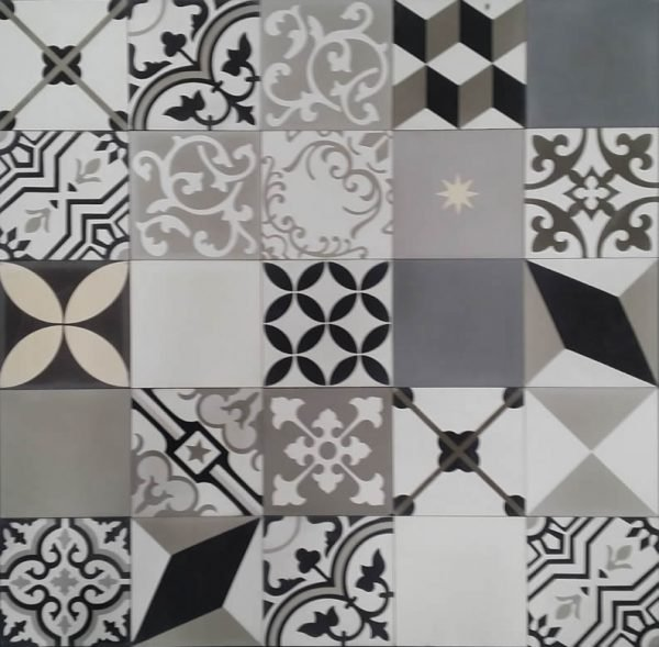 Moroccan Encaustic Cement Pattern Random Mix Black White and Grey