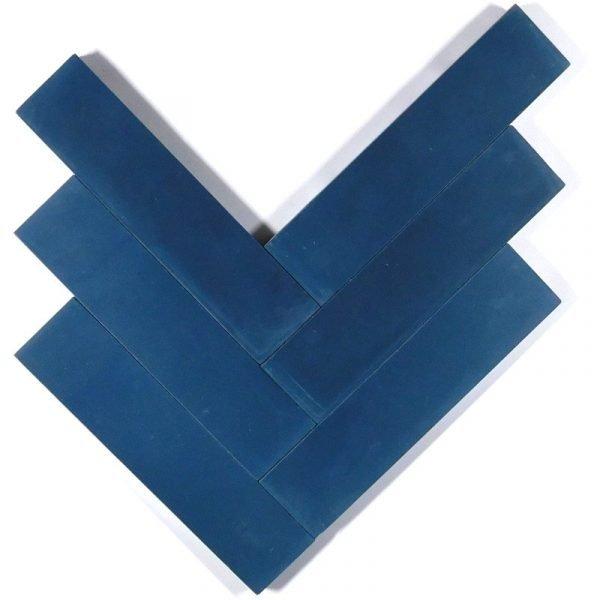 Moroccan Encaustic Cement Dark Blue 5cm x 20cm