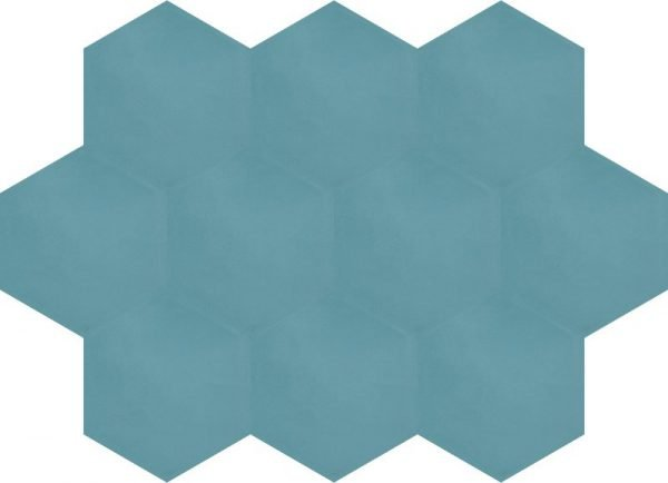 Moroccan Encaustic Cement Hexagonal Aquamarine