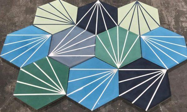Moroccan Encaustic Cement Hexagonal Random Mix