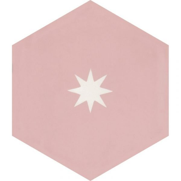 Moroccan Encaustic Cement Hexagonal Small Star Pink