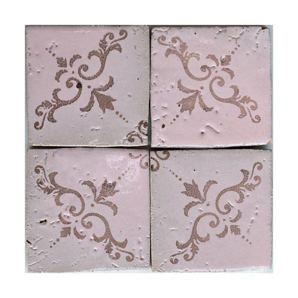 Zellige Pink Pattern 2 10cm x 10cm