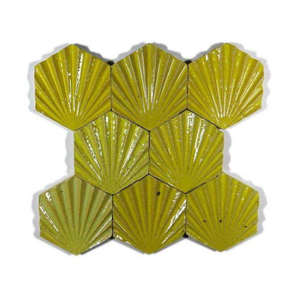 Zellige Hexagonal Scallop Yellow 11cm x 12.7cm