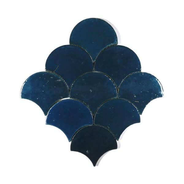 Zellige Dark Turquoise Fishscale 13cm x 12cm