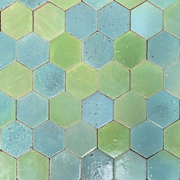 Zellige Hexagonal Multi Green 11cm x 12.7cm